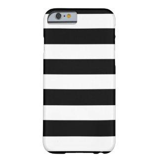 Modelo blanco negro moderno de las rayas funda barely there iPhone 6