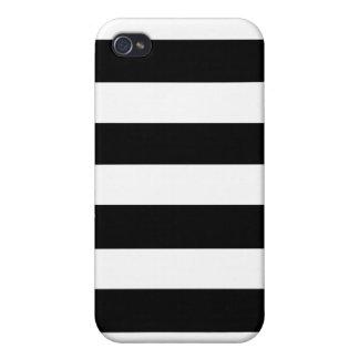 Modelo blanco negro moderno de las rayas iPhone 4/4S funda