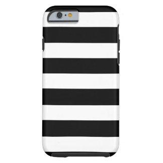 Modelo blanco negro moderno de las rayas funda resistente iPhone 6