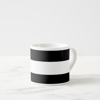 Modelo blanco negro moderno de las rayas taza espresso