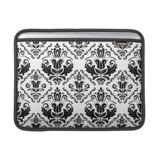 Modelo blanco negro retro elegante del damasco funda  MacBook