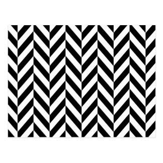Modelo blanco negro simple de la raspa de arenque postales