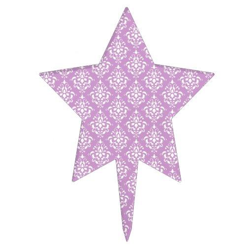 Modelo blanco púrpura 1 del damasco del vintage decoraciones para tartas