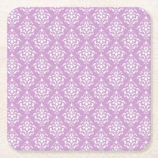 Modelo blanco púrpura 1 del damasco del vintage posavasos de cartón cuadrado