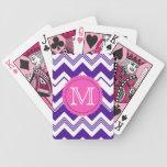 Modelo blanco púrpura de Chevron del monograma Baraja Cartas De Poker