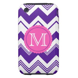 Modelo blanco púrpura de Chevron del monograma iPhone 3 Tough Cárcasas