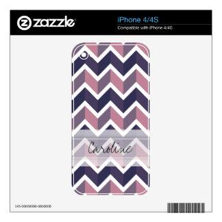 Modelo blanco púrpura de Geo Chevron de la lavanda Calcomanías Para iPhone 4S