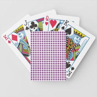 Modelo blanco púrpura de la guinga baraja cartas de poker