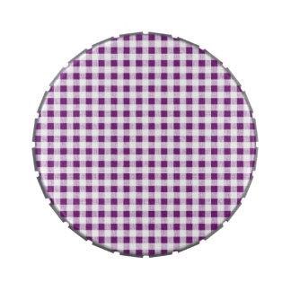 Modelo blanco púrpura de la guinga latas de caramelos