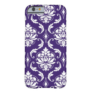 Modelo blanco púrpura del damasco del vintage funda para iPhone 6 barely there