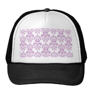 Modelo blanco púrpura femenino 2 del damasco del v gorras