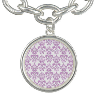 Modelo blanco púrpura femenino 2 del damasco del v pulsera