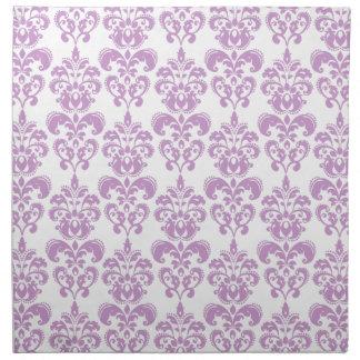 Modelo blanco púrpura femenino 2 del damasco del v servilletas imprimidas
