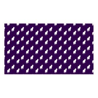 Modelo blanco púrpura lindo del gato plantilla de tarjeta personal