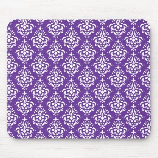 Modelo blanco púrpura oscuro del damasco del vinta alfombrillas de ratón