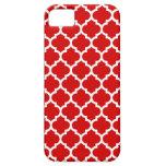 Modelo blanco rojo #5 de Quatrefoil del marroquí iPhone 5 Case-Mate Cárcasa