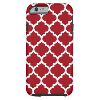 Modelo blanco rojo #5 de Quatrefoil del marroquí Funda Para iPhone 6 Tough