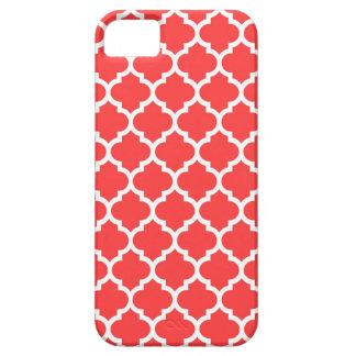 Modelo blanco rojo coralino #5 de Quatrefoil del iPhone 5 Funda