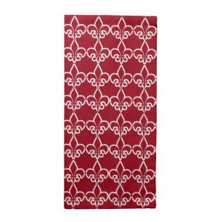 Modelo blanco rojo de la cadena de la flor de lis servilleta