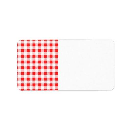 Modelo blanco rojo de la guinga etiquetas de dirección