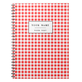 Modelo blanco rojo de la guinga libros de apuntes con espiral