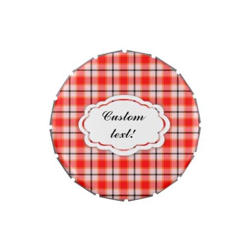 Modelo blanco rojo de la tela escocesa de tartán jarrones de caramelos