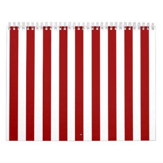 Modelo blanco rojo de las rayas calendarios