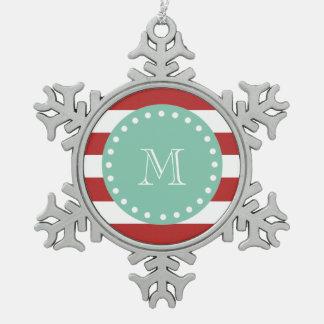 Modelo blanco rojo de las rayas monograma de la v adorno
