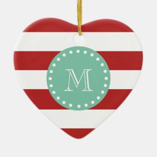 Modelo blanco rojo de las rayas monograma de la v ornaments para arbol de navidad