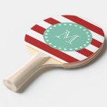 Modelo blanco rojo de las rayas, monograma de la v pala de tenis de mesa
