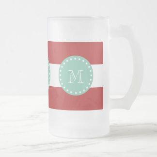 Modelo blanco rojo de las rayas, monograma de la v taza de café