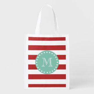 Modelo blanco rojo de las rayas, monograma de la v bolsa para la compra