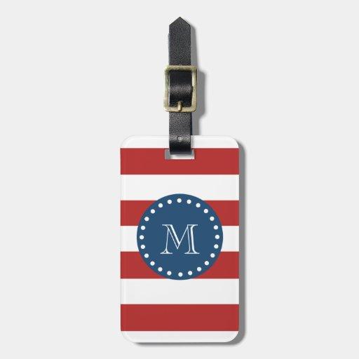 Modelo blanco rojo de las rayas, monograma de los  etiquetas bolsa