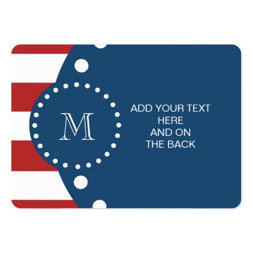 Modelo blanco rojo de las rayas, monograma de los  plantillas de tarjetas de visita