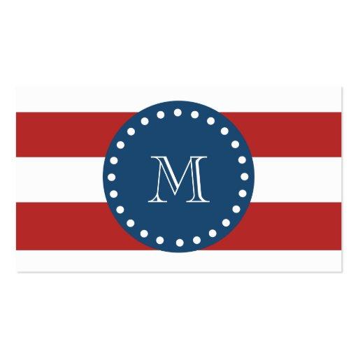 Modelo blanco rojo de las rayas, monograma de los  tarjeta personal