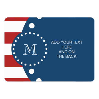 Modelo blanco rojo de las rayas, monograma de los  tarjetas de visita grandes
