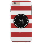 Modelo blanco rojo de las rayas, monograma negro funda de iPhone 6 plus tough