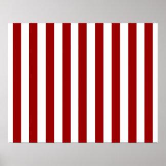 Modelo blanco rojo de las rayas póster