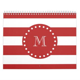 Modelo blanco rojo de las rayas su monograma calendarios de pared