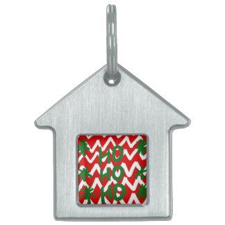 Modelo blanco rojo del navidad de Chevron Ho Ho Ho Placas De Nombre De Mascota