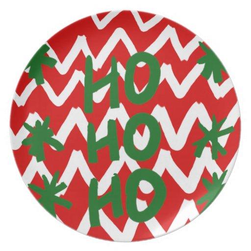 Modelo blanco rojo del navidad de Chevron Ho Ho Ho Platos