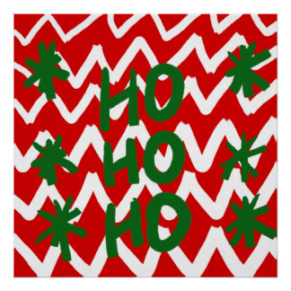 Modelo blanco rojo del navidad de Chevron Ho Ho Ho Póster