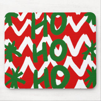 Modelo blanco rojo del navidad de Chevron Ho Ho Ho Tapetes De Ratones
