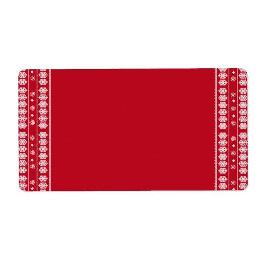 Modelo blanco rojo del navidad de los copos de nie etiquetas de envío