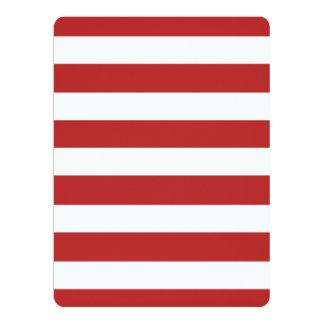 Modelo blanco rojo moderno de las rayas invitación 16,5 x 22,2 cm
