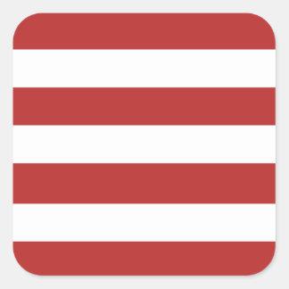 Modelo blanco rojo moderno de las rayas pegatina cuadrada