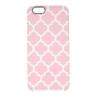 Modelo blanco rosado #5 de Quatrefoil del marroquí Funda Clearly™ Deflector Para iPhone 6 De Uncommon
