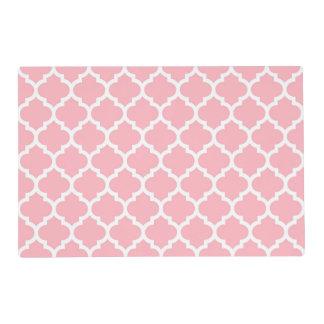 Modelo blanco rosado #5 de Quatrefoil del marroquí Tapete Individual