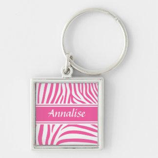 Modelo blanco rosado adaptable de moda de la cebra llavero cuadrado plateado