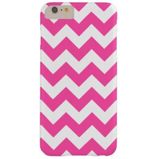 Modelo blanco rosado de Chevron del zigzag Funda De iPhone 6 Plus Barely There